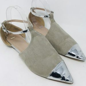ASOS Pointed Toe Gray Silver Ankle Strap Flats